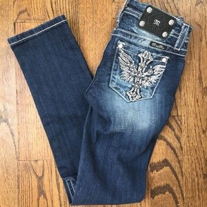 NWOT Miss Me Embellished Wing Cross Pocket Jeans